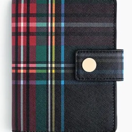 TARTAN-PRINTED LEATHER PASSPORT CASE
