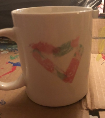 washi tape heart shaped mug